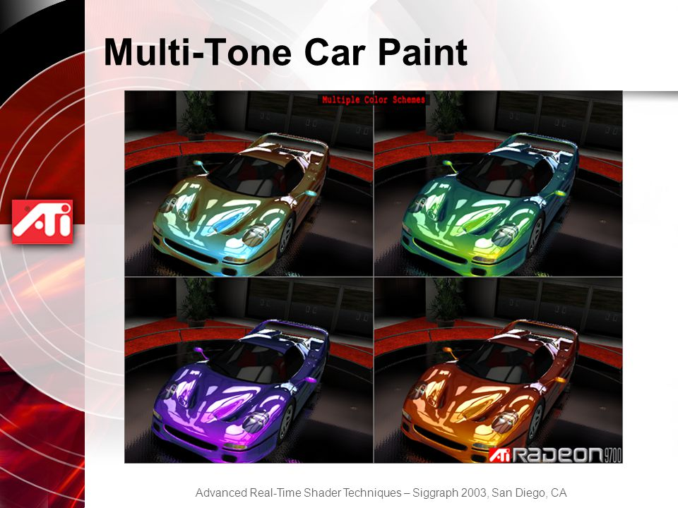 Advanced Real-Time Shader Techniques – Siggraph 2003, San Diego, CA Multi-Tone Car Paint