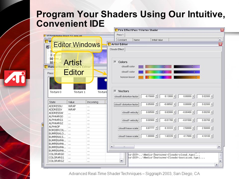 Advanced Real-Time Shader Techniques – Siggraph 2003, San Diego, CA Program Your Shaders Using Our Intuitive, Convenient IDE Workspace View Output Window Preview Window Editor Windows Artist Editor