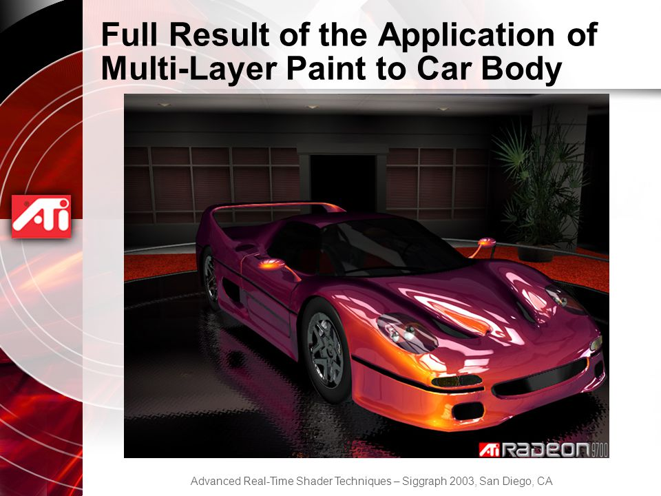 Advanced Real-Time Shader Techniques – Siggraph 2003, San Diego, CA Full Result of the Application of Multi-Layer Paint to Car Body