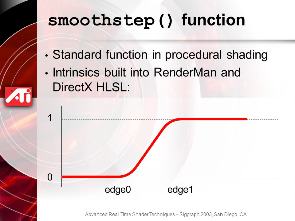 Advanced Real-Time Shader Techniques – Siggraph 2003, San Diego, CA smoothstep() function Standard function in procedural shading Intrinsics built into RenderMan and DirectX HLSL: 0 1 edge0edge1