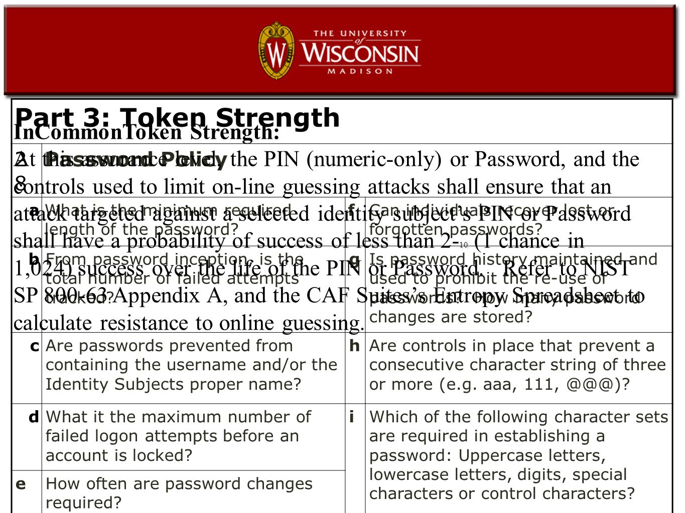 Part 3: Token Strength 2828 Password Policy aWhat is the minimum required length of the password.