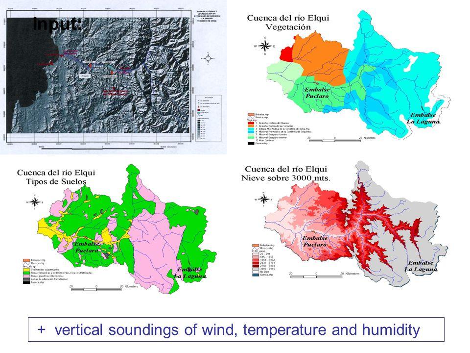 Datos de entrada requeridos: + vertical soundings of wind, temperature and humidity Input: