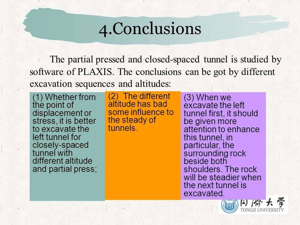 4.Conclusions The partial pressed and closed-spaced tunnel is studied by software of PLAXIS. The conclusions can be got by different excavation sequen