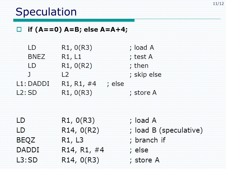 11/12 Speculation  if (A==0) A=B; else A=A+4; LDR1, 0(R3); load A BNEZ R1, L1; test A LDR1, 0(R2); then JL2; skip else L1:DADDIR1, R1, #4; else L2:SDR1, 0(R3); store A LDR1, 0(R3); load A LDR14, 0(R2); load B (speculative) BEQZR1, L3; branch if DADDIR14, R1, #4; else L3:SDR14, 0(R3); store A