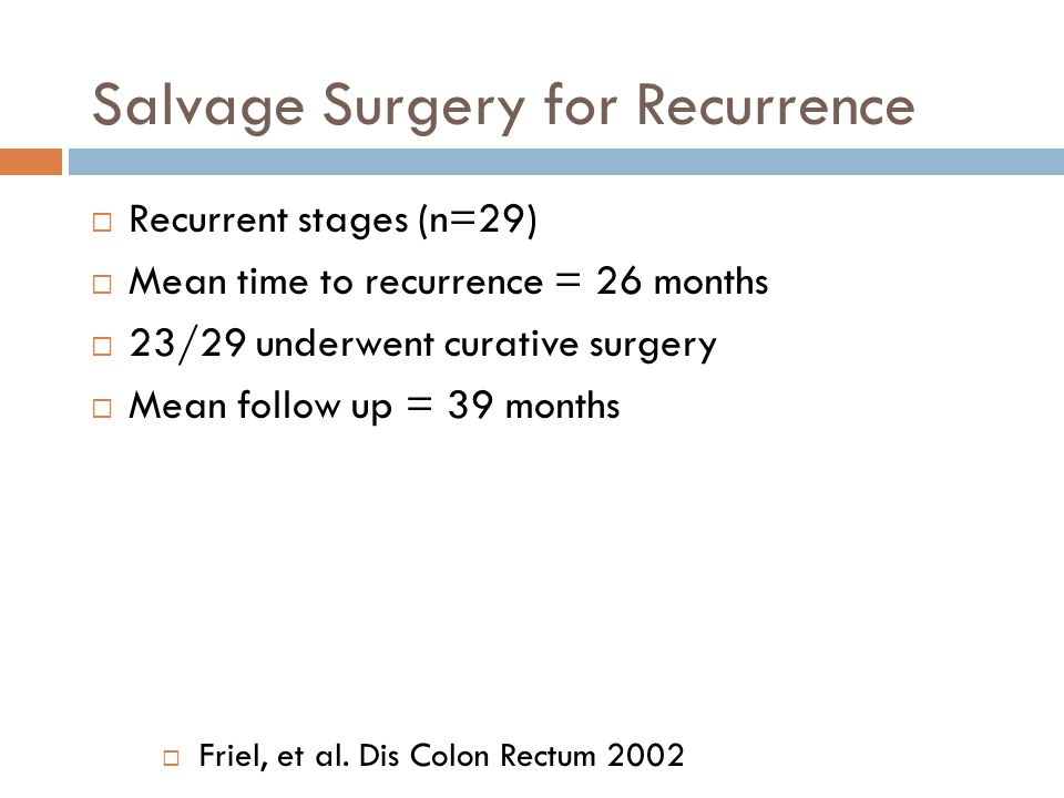 Salvage Surgery for Recurrence  Recurrent stages (n=29)  Mean time to recurrence = 26 months  23/29 underwent curative surgery  Mean follow up = 3