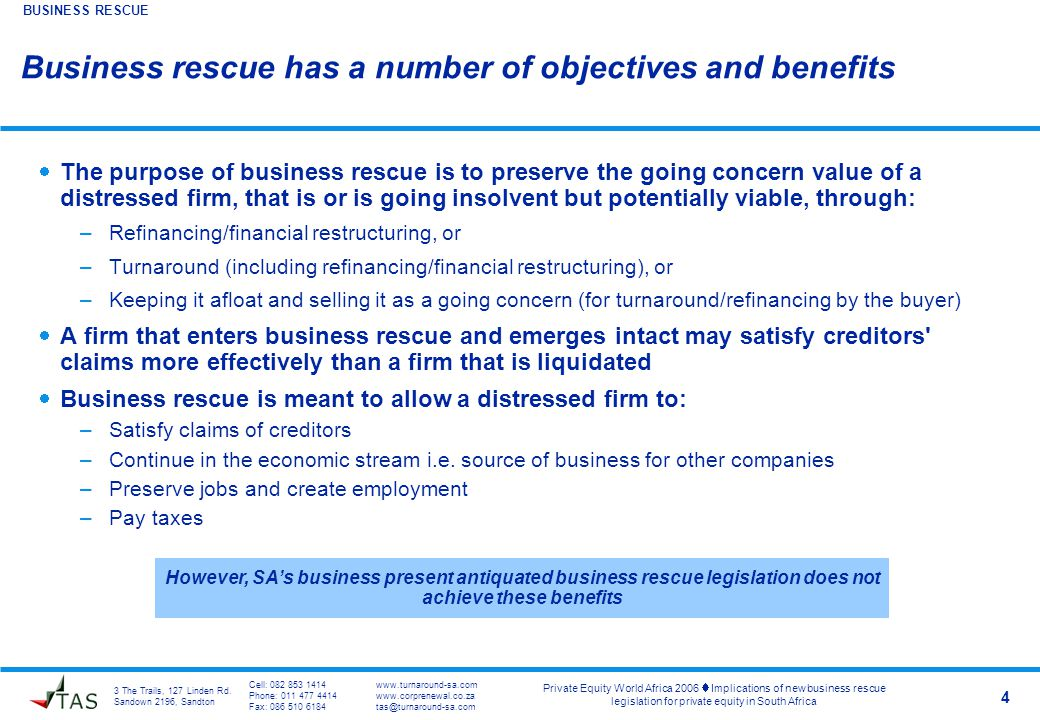 3 The Trails, 127 Linden Rd. Sandown 2196, Sandton Private Equity World Africa 2006  Implications of new business rescue legislation for private equi
