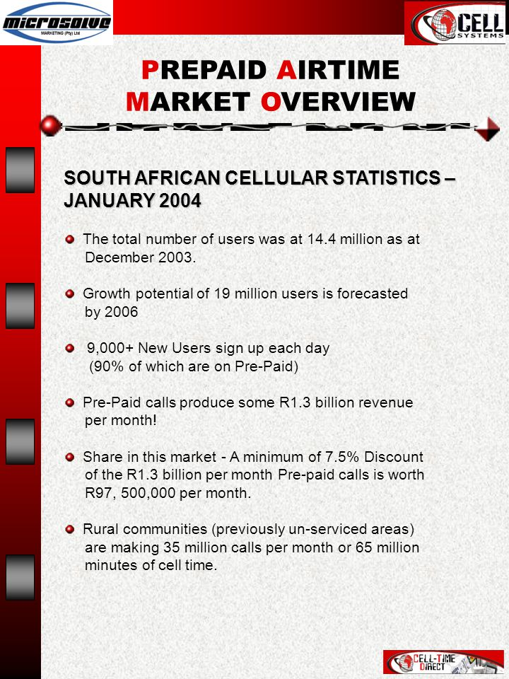 SOUTH AFRICAN CELLULAR STATISTICS – JANUARY 2004 The total number of users was at 14.4 million as at December 2003.