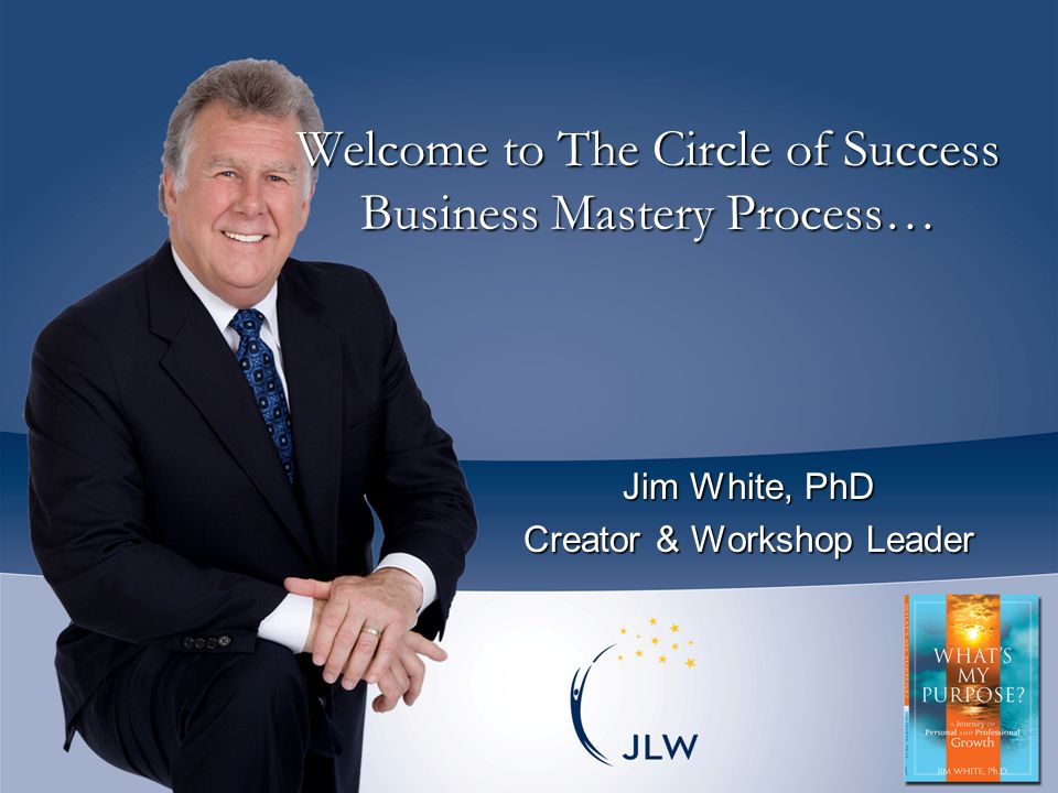  Jim White, Ph.D.is Founder & President of JL White International, author of What ' s My Purpose.
