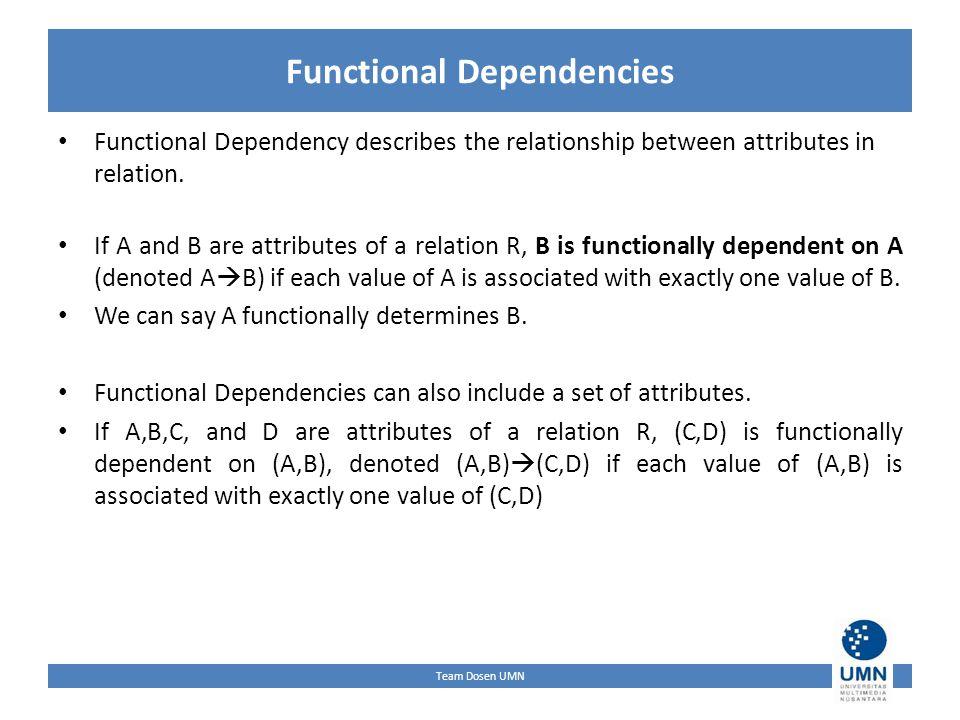 Team Dosen UMN Functional Dependencies Functional Dependency describes the relationship between attributes in relation.