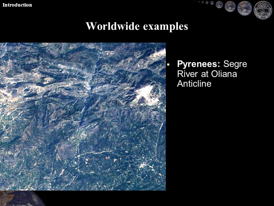 Worldwide examples   Pyrenees: Segre River at Oliana Anticline   Swiss Alps: Reuss above Lake Lucerne Introduction