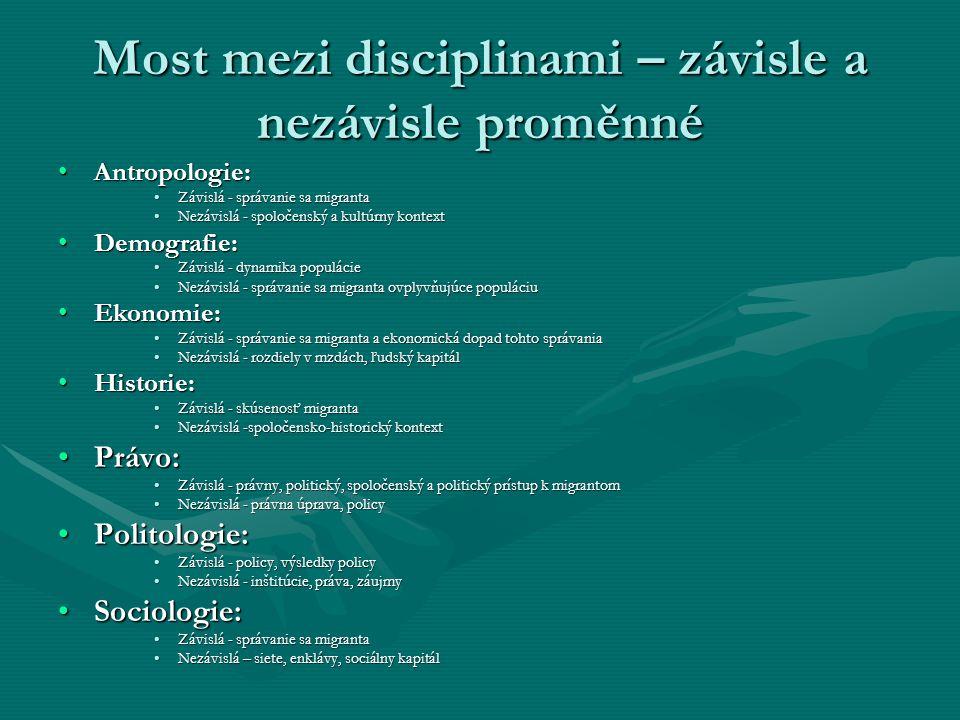 Most mezi disciplinami – závisle a nezávisle proměnné Antropologie:Antropologie: Závislá - správanie sa migrantaZávislá - správanie sa migranta Nezávi