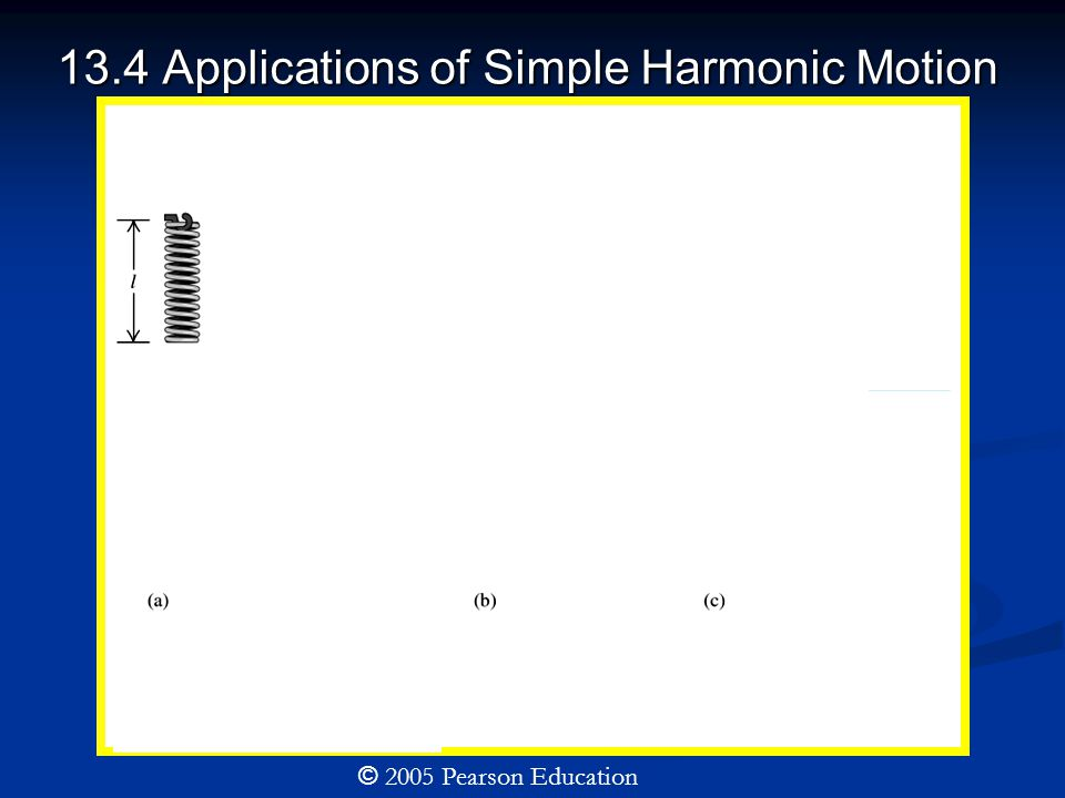 13.4 Applications of Simple Harmonic Motion © 2005 Pearson Education