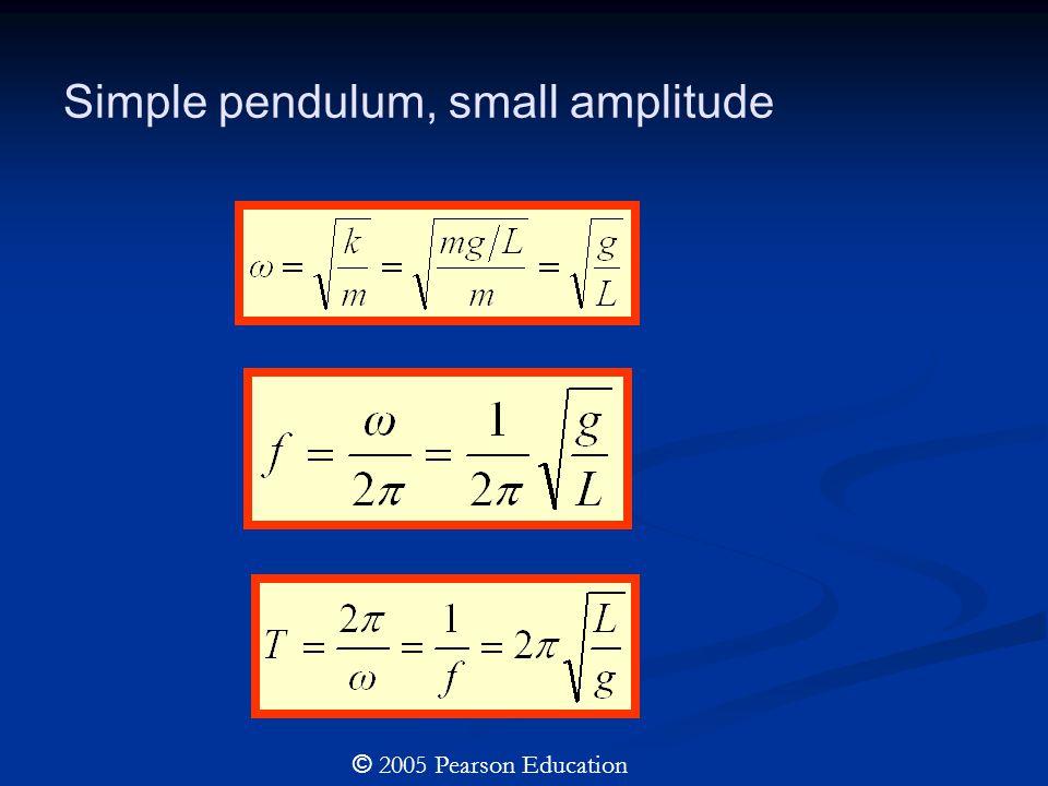 Simple pendulum, small amplitude © 2005 Pearson Education