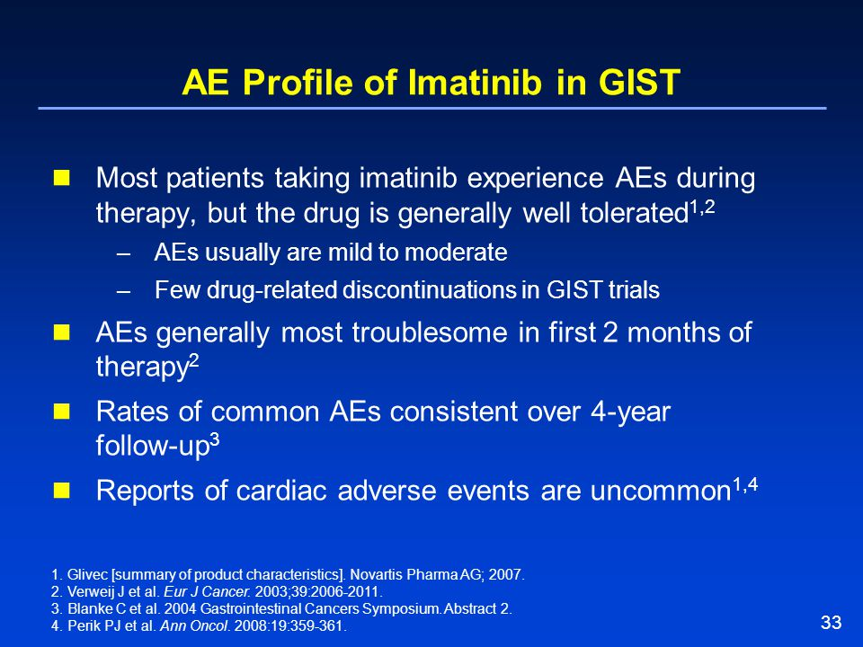 33 AE Profile of Imatinib in GIST Most patients taking imatinib experience AEs during therapy, but the drug is generally well tolerated 1,2 –AEs usual