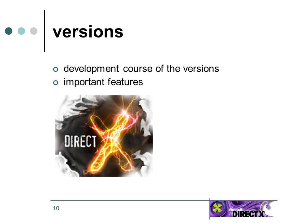 10 versions development course of the versions important features
