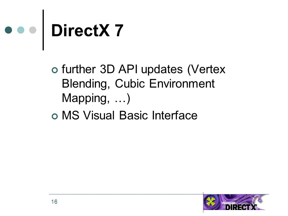 16 DirectX 7 further 3D API updates (Vertex Blending, Cubic Environment Mapping, …) MS Visual Basic Interface