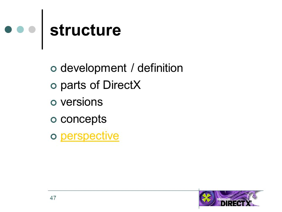47 structure development / definition parts of DirectX versions concepts perspective