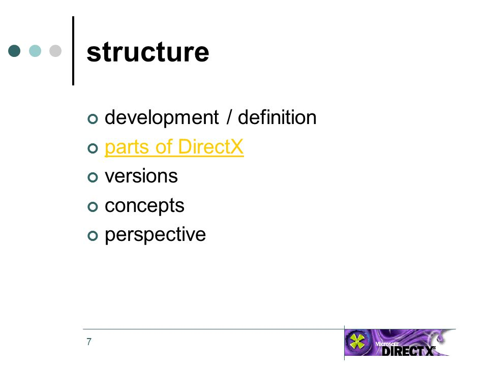 7 structure development / definition parts of DirectX versions concepts perspective