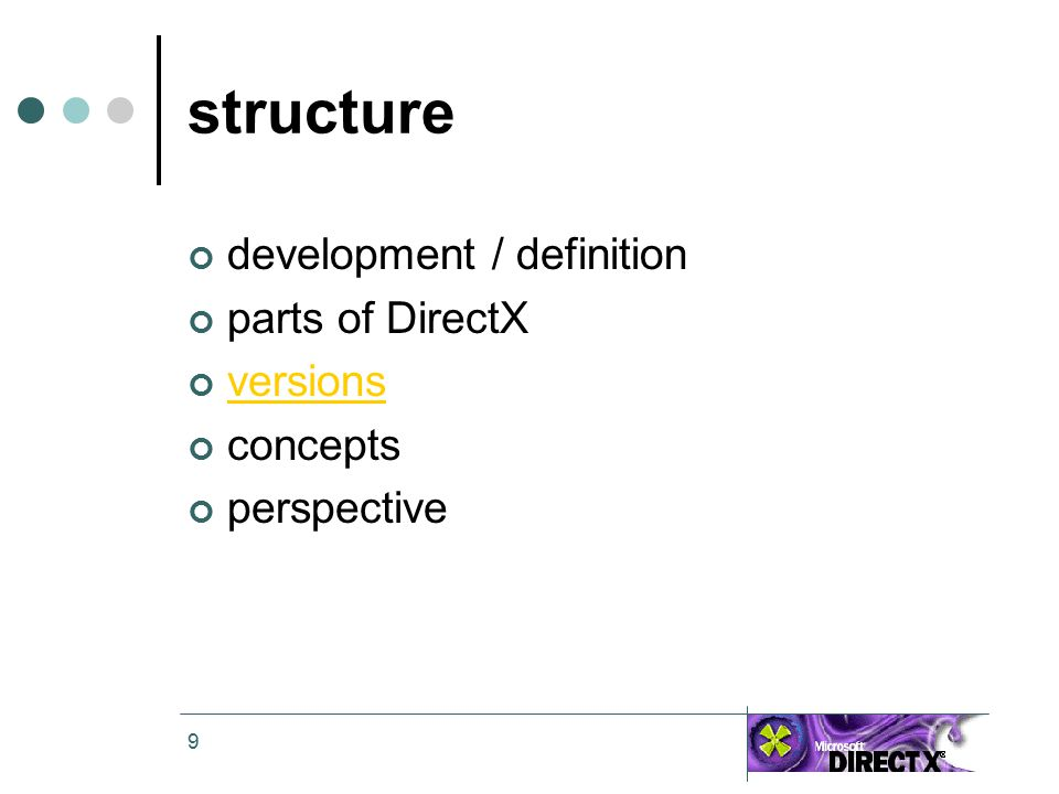 9 structure development / definition parts of DirectX versions concepts perspective