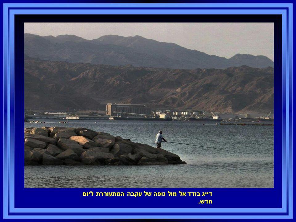 דייג בודד אל מול נופה של עקבה המתעוררת ליום חדש.