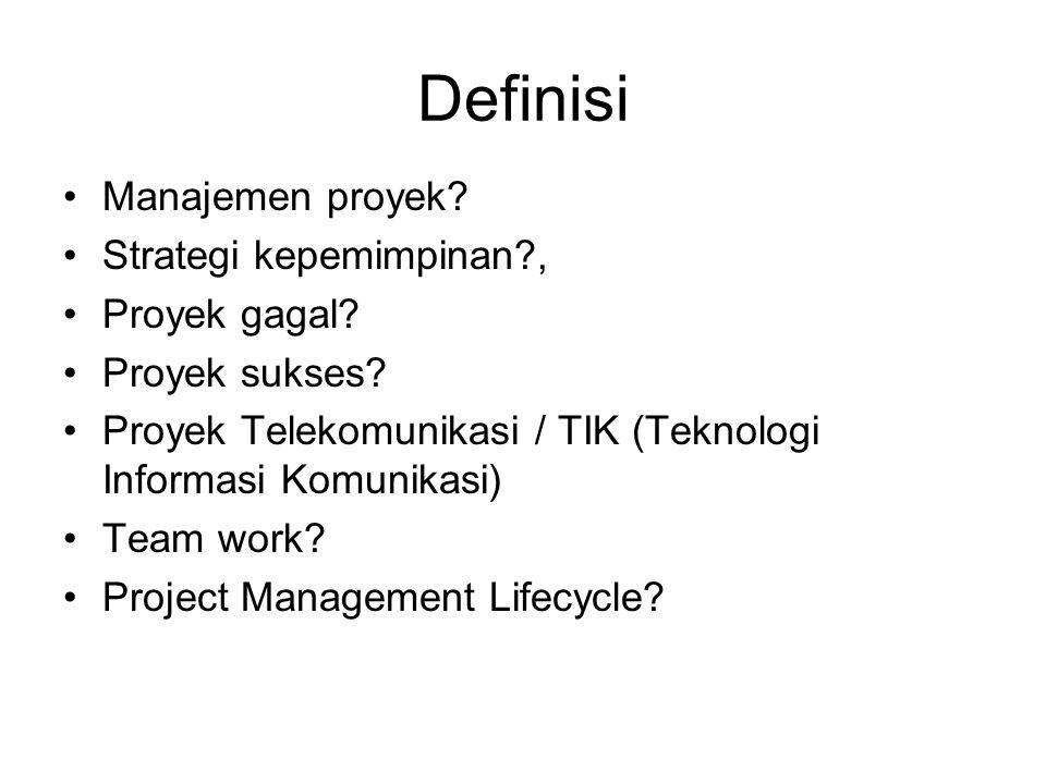 Definisi Manajemen proyek? Strategi kepemimpinan?, Proyek gagal? Proyek sukses? Proyek Telekomunikasi / TIK (Teknologi Informasi Komunikasi) Team work