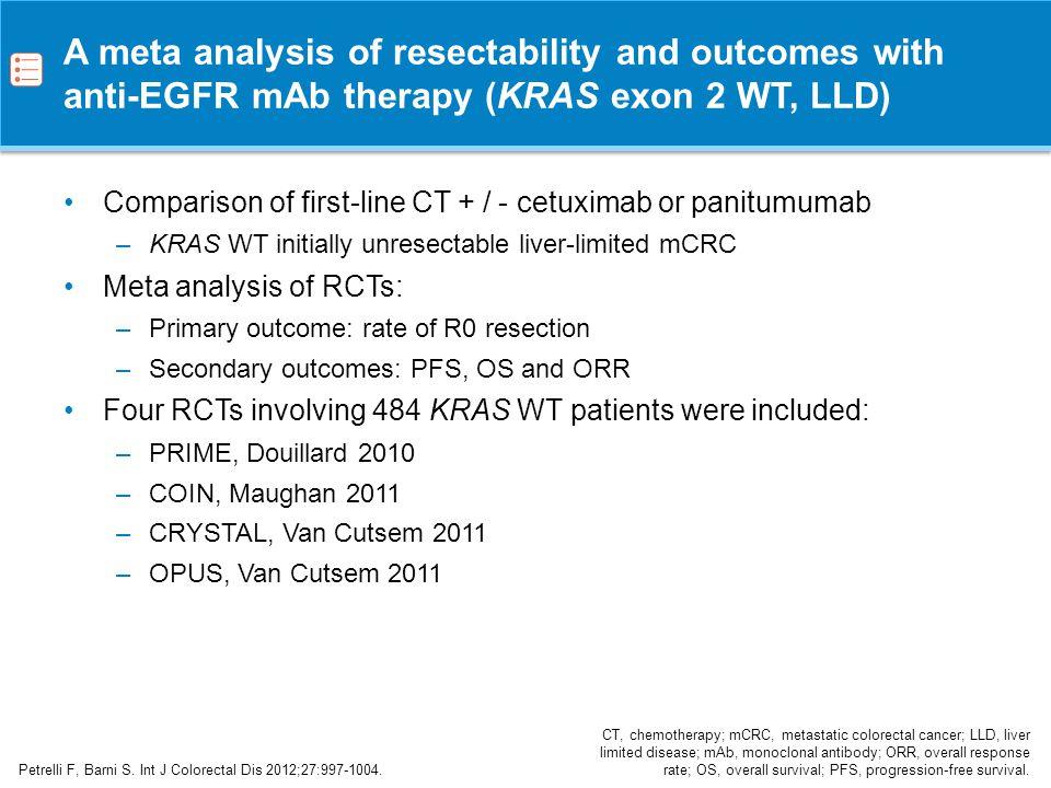 Impact of anti-EGFR mAb therapy on outcomes (KRAS exon 2 WT, LLD) Petrelli F, Barni S.