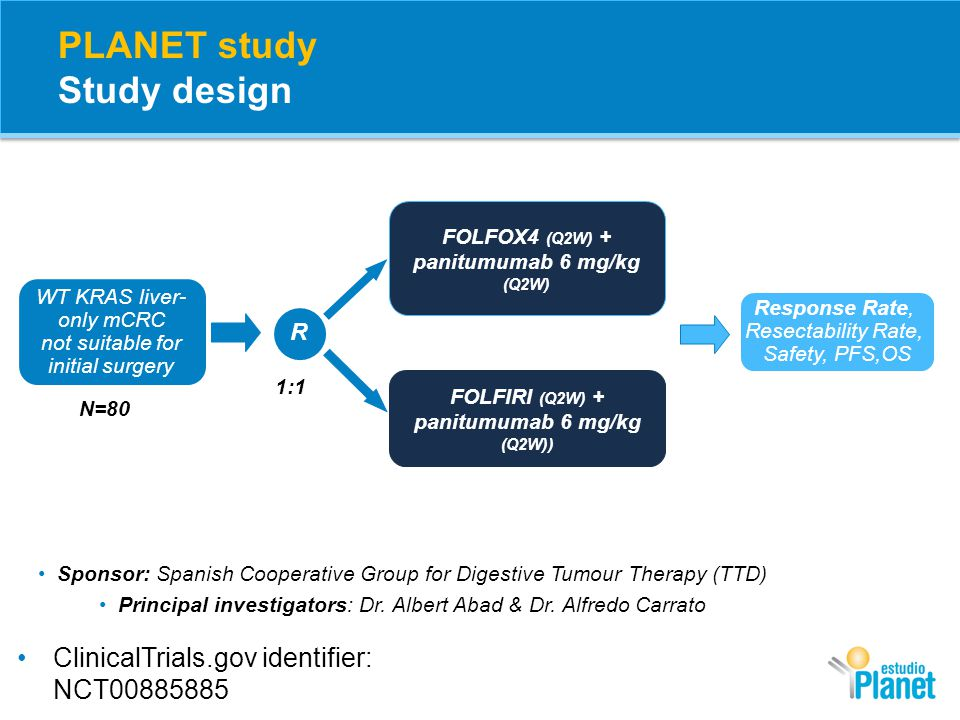 PLANET study Endpoints Primary Endpoint: Objective response rate (ORR) over the entire Pmab+CT treatment period Secondary Endpoints: Resection rate (R0+R1) of liver metastases Time to resection Progression-free survival (PFS) Overall survival (OS) Adverse Events (AEs) and peri-operative safety Exploratory Endpoints: Response according to molecular biomarkers (RAS status)