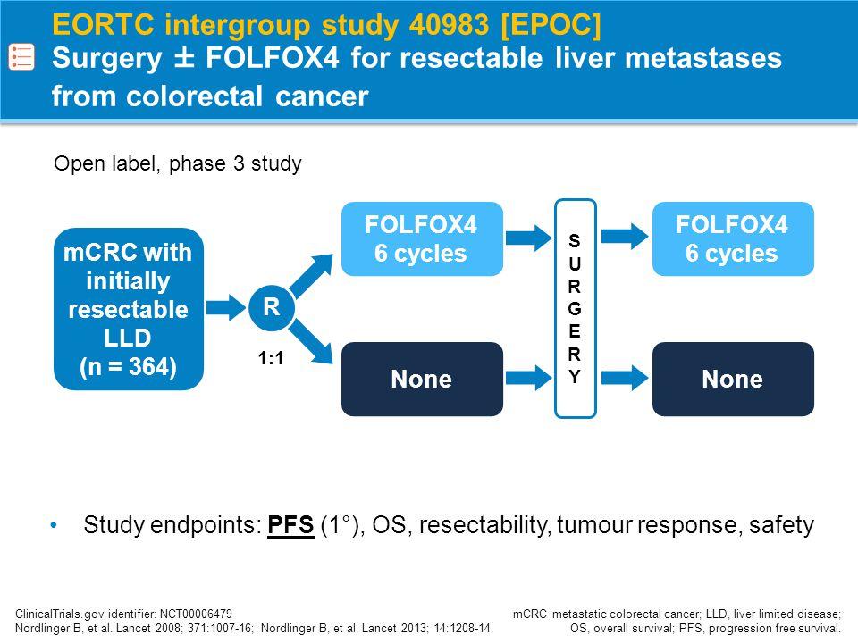 EORTC intergroup study 40983 [EPOC] Progression free survival Nordlinger B, et al.