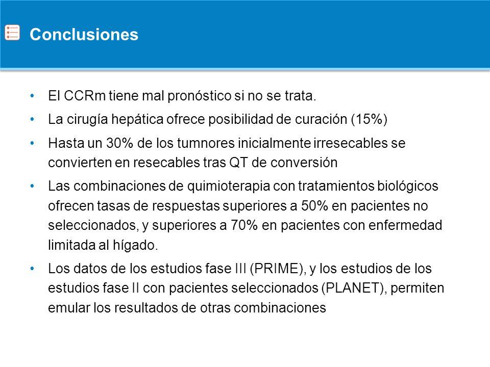 Conclusiones Cuando hablemos del tratamiento de conversión en pacientes afectos de CCRm potencialmente resecables, las combinaciones con panitumumab han demostrado ser igualmente eficaces que otras combinaciones de tratamiento estudiadas con anterioridad.