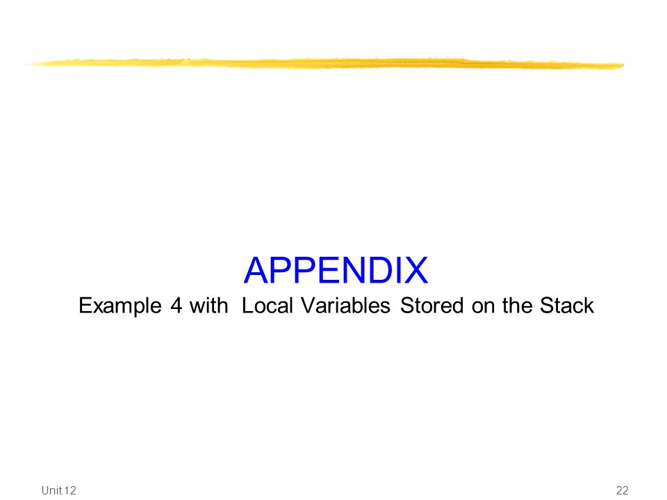 APPENDIX Example 4 with Local Variables Stored on the Stack Unit 12 22