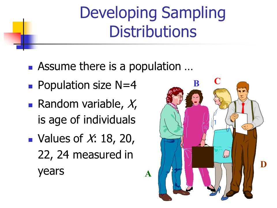 Developing Sampling Distributions Assume there is a population … Population size N=4 Random variable, X, is age of individuals Values of X: 18, 20, 22, 24 measured in years A B C D