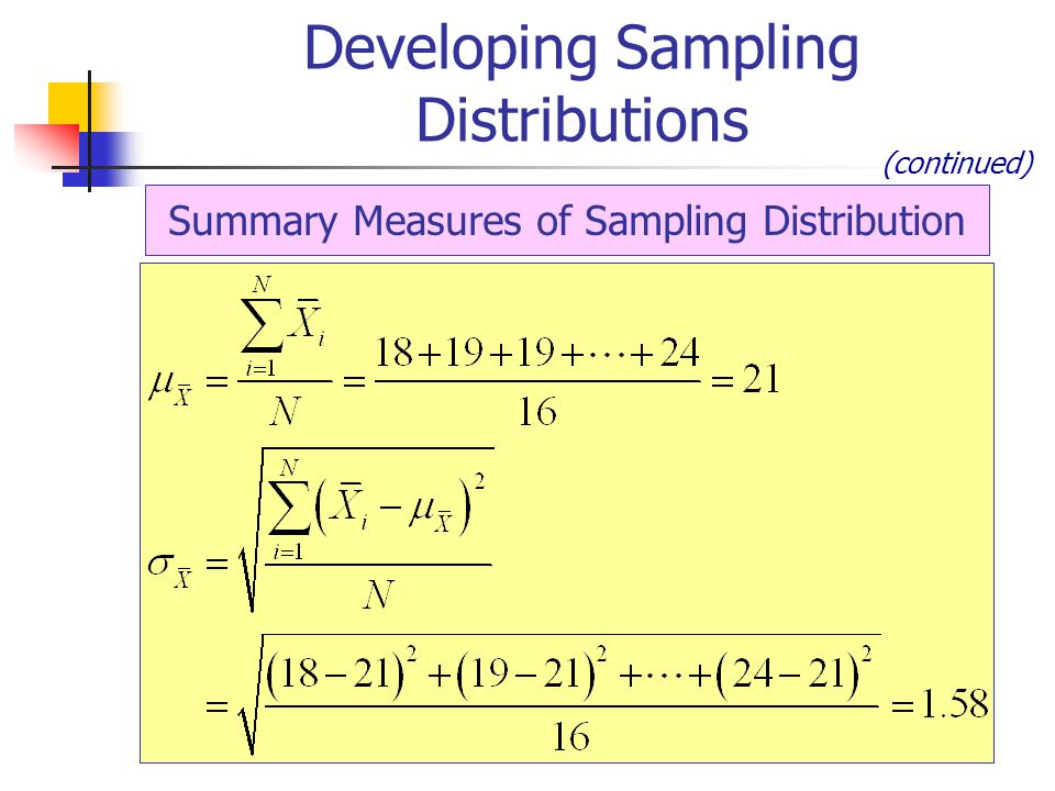 Summary Measures of Sampling Distribution Developing Sampling Distributions (continued)