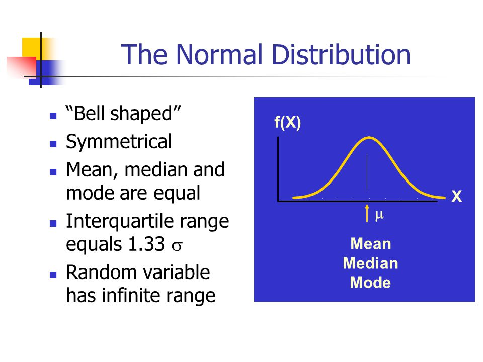 """The Normal Distribution """"Bell shaped"""" Symmetrical Mean, median and mode are equal Interquartile range equals 1.33  Random variable has infinite range"""