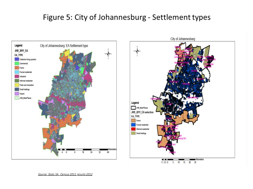 Figure 5: City of Johannesburg - Settlement types Source: Stats SA, Census 2011 results 2012