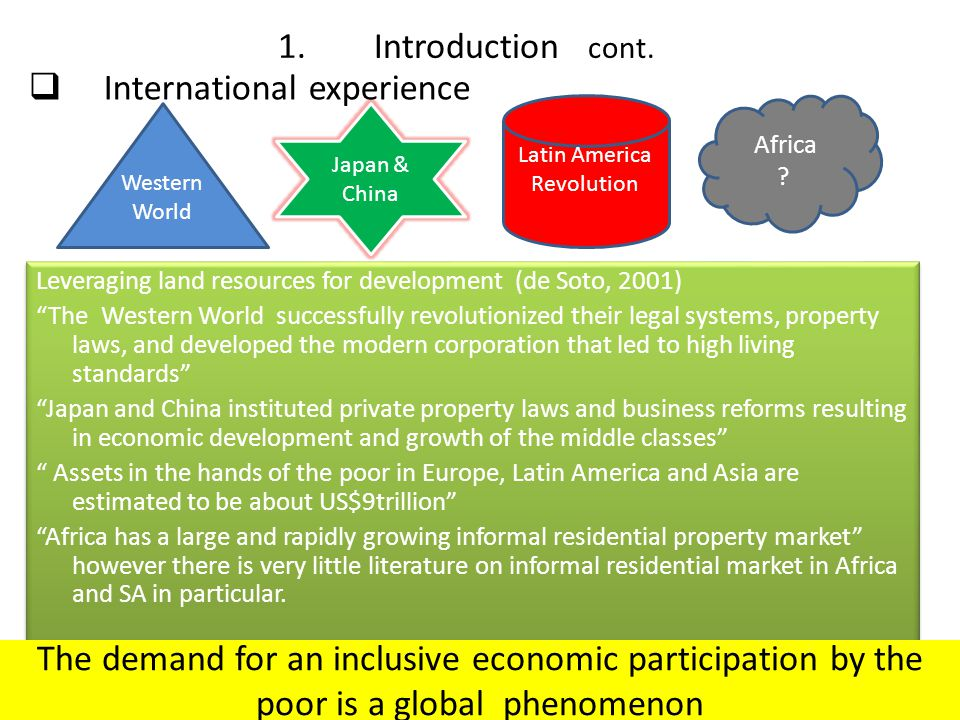 "Japan & China Leveraging land resources for development (de Soto, 2001) ""The Western World successfully revolutionized their legal systems, property l"