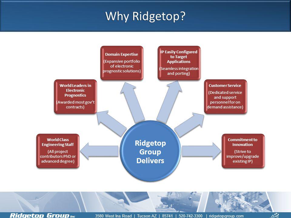 3580 West Ina Road | Tucson AZ | 85741 | 520-742-3300 | ridgetopgroup.com Why Ridgetop? Ridgetop Group Delivers World Class Engineering Staff (All pro