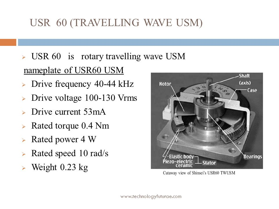 www.technologyfuturae.com USR 60 (TRAVELLING WAVE USM)  USR 60 is rotary travelling wave USM nameplate of USR60 USM  Drive frequency 40-44 kHz  Dri