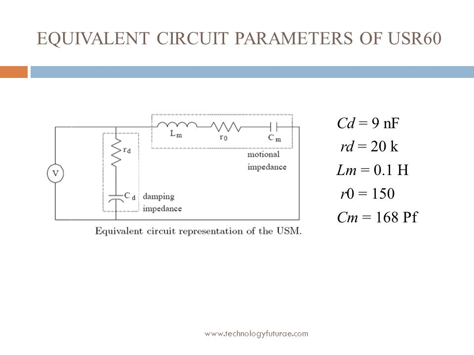 www.technologyfuturae.com EQUIVALENT CIRCUIT PARAMETERS OF USR60 Cd = 9 nF rd = 20 k Lm = 0.1 H r0 = 150 Cm = 168 Pf