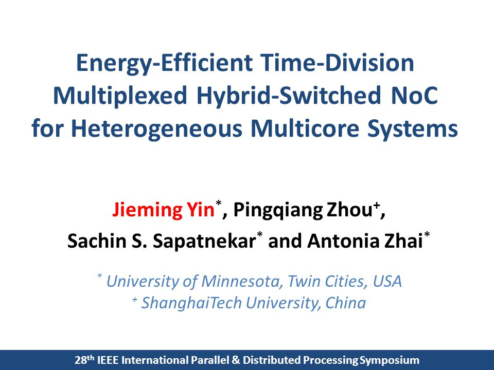 Energy-Efficient Time-Division Multiplexed Hybrid-Switched NoC for Heterogeneous Multicore Systems Jieming Yin *, Pingqiang Zhou +, Sachin S.