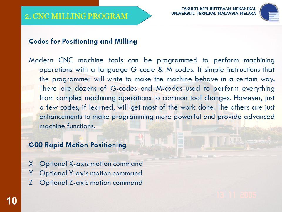 10 2. CNC MILLING PROGRAM FAKULTI KEJURUTERAAN MEKANIKAL UNIVERSITI TEKNIKAL MALAYSIA MELAKA Codes for Positioning and Milling Modern CNC machine tool