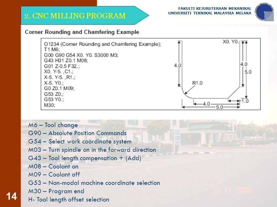 14 2. CNC MILLING PROGRAM FAKULTI KEJURUTERAAN MEKANIKAL UNIVERSITI TEKNIKAL MALAYSIA MELAKA M6 – Tool change G90 – Absolute Position Commands G54 – S