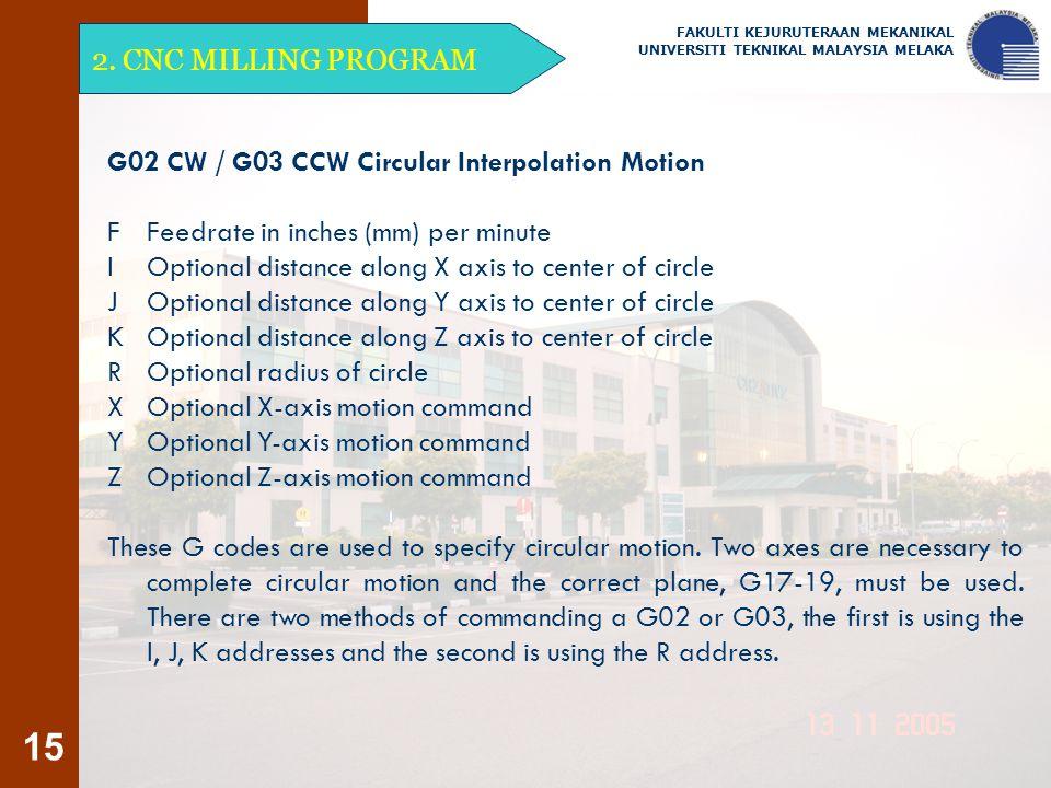 15 2. CNC MILLING PROGRAM FAKULTI KEJURUTERAAN MEKANIKAL UNIVERSITI TEKNIKAL MALAYSIA MELAKA G02 CW / G03 CCW Circular Interpolation Motion F Feedrate