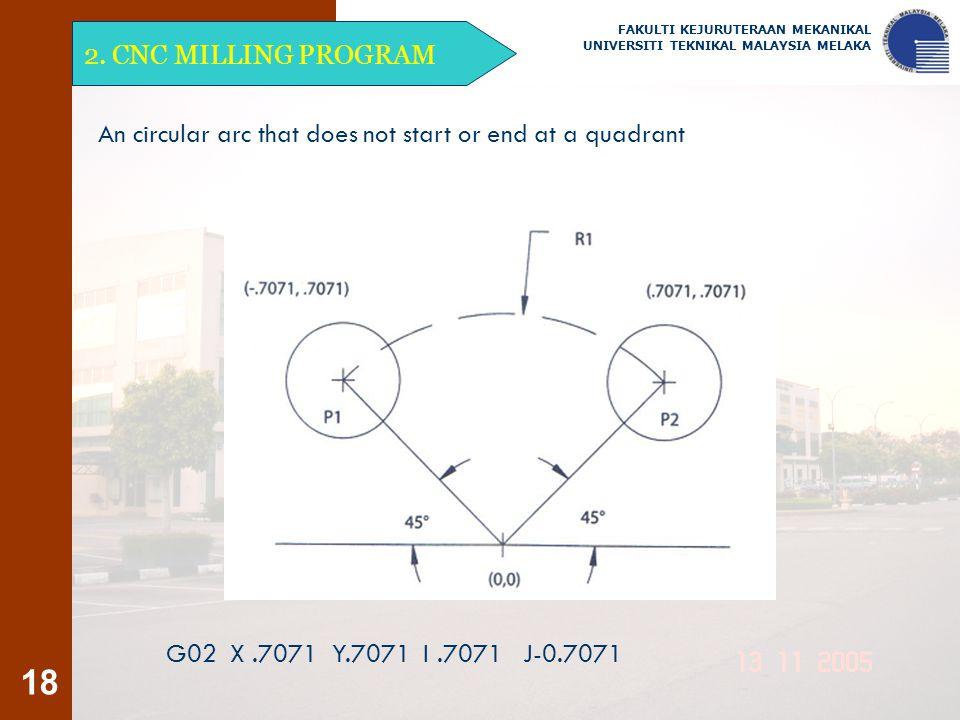 18 2. CNC MILLING PROGRAM FAKULTI KEJURUTERAAN MEKANIKAL UNIVERSITI TEKNIKAL MALAYSIA MELAKA An circular arc that does not start or end at a quadrant