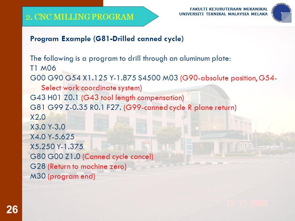26 2. CNC MILLING PROGRAM FAKULTI KEJURUTERAAN MEKANIKAL UNIVERSITI TEKNIKAL MALAYSIA MELAKA Program Example (G81-Drilled canned cycle) The following