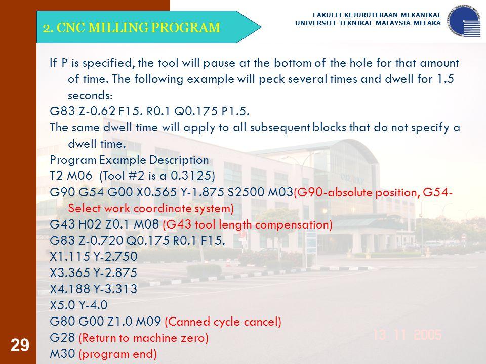 29 2. CNC MILLING PROGRAM FAKULTI KEJURUTERAAN MEKANIKAL UNIVERSITI TEKNIKAL MALAYSIA MELAKA If P is specified, the tool will pause at the bottom of t