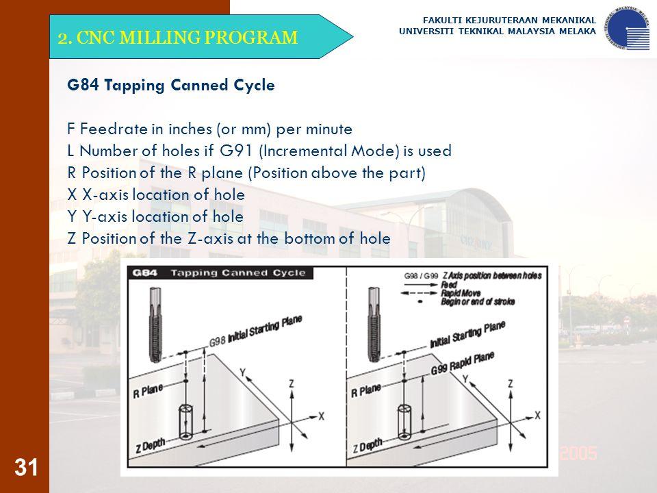 31 2. CNC MILLING PROGRAM FAKULTI KEJURUTERAAN MEKANIKAL UNIVERSITI TEKNIKAL MALAYSIA MELAKA G84 Tapping Canned Cycle F Feedrate in inches (or mm) per