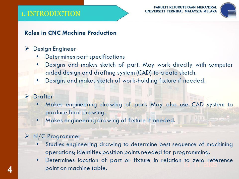 4 1. INTRODUCTION FAKULTI KEJURUTERAAN MEKANIKAL UNIVERSITI TEKNIKAL MALAYSIA MELAKA Roles in CNC Machine Production  Design Engineer Determines part