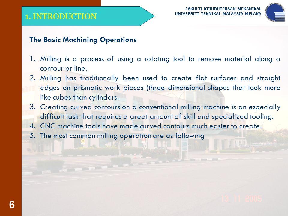 6 1. INTRODUCTION FAKULTI KEJURUTERAAN MEKANIKAL UNIVERSITI TEKNIKAL MALAYSIA MELAKA The Basic Machining Operations 1.Milling is a process of using a