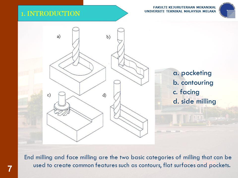 7 1. INTRODUCTION FAKULTI KEJURUTERAAN MEKANIKAL UNIVERSITI TEKNIKAL MALAYSIA MELAKA End milling and face milling are the two basic categories of mill