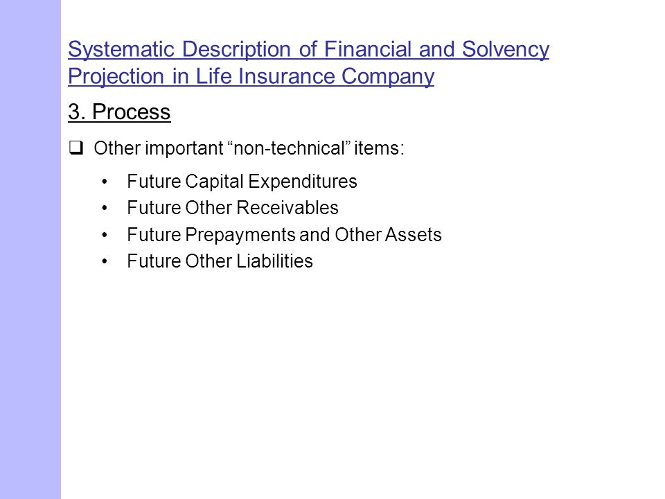 "Systematic Description of Financial and Solvency Projection in Life Insurance Company 3. Process  Other important ""non-technical"" items: Future Capit"